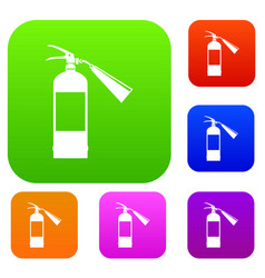 Fire extinguisher set collection vector