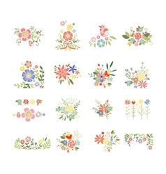 Flowers Icon Set in Trendy Flat Style vector image vector image