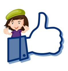 girl showing thumb picture vector image vector image
