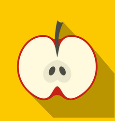half red apple icon flat style vector image vector image