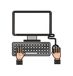 hands programmer working keyboard laptop vector image vector image
