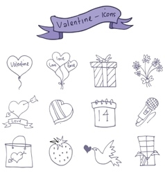 Icons of valentine day romance theme vector image