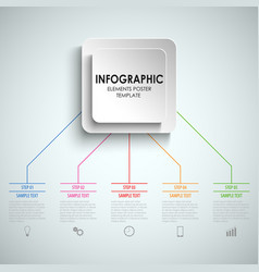 Info graphic with color links and square signs vector