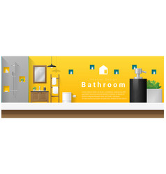 interior design table top and modern bathroom vector image vector image