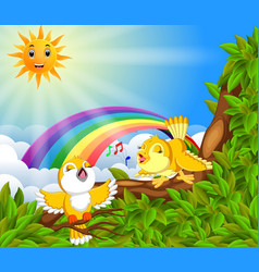 Many bird on the tree branch with rainbow scene vector