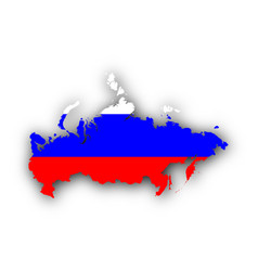 Map and flag of russia vector