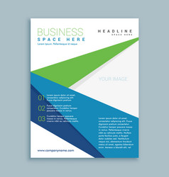 Modern green and blue business brochure flyer vector