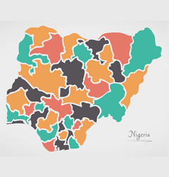 Nigeria map with states and modern round shapes vector