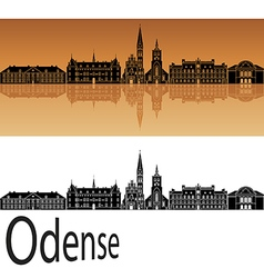 Odense skyline in orange vector image