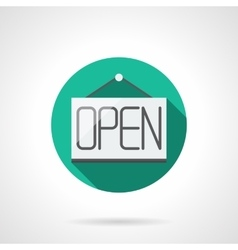 Open sign round flat color icon vector image