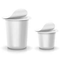 Opened white cup tub food plastic container for vector image