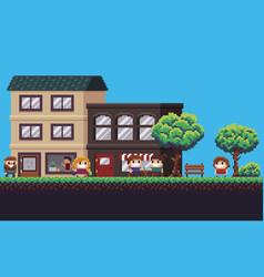 pixel art street vector image vector image