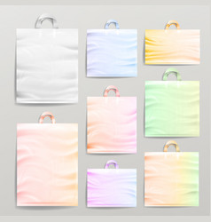 Plastic shopping realistic bags set with handles vector