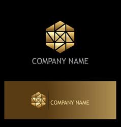 Polygon gold mozaic shape logo vector