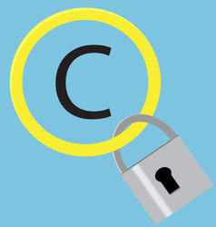 Protection sign copyright with hang steel padlock vector