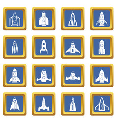 Rocket icons set blue vector