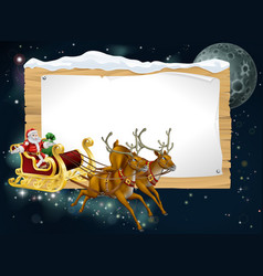 santa christmas sleigh background vector image vector image