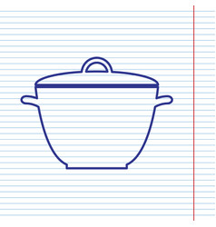Saucepan simple sign navy line icon on vector