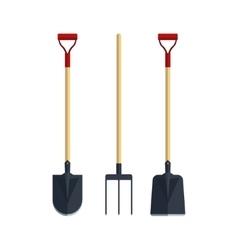 Set pitchfork shovel spade flat tool icon logo vector image vector image