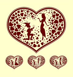 Silhouettes of the prince and princess retro set vector