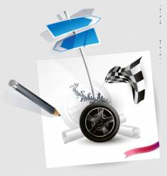 sketch-wheel racing vector image
