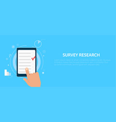 Survey research make a choice on the tablet vector