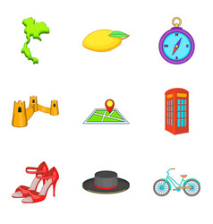 thing from england icons set cartoon style vector image