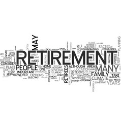 Where to live when you retire text word cloud vector