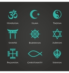 World religion symbols cyan color vector