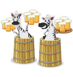 zebra with beer jar vector image