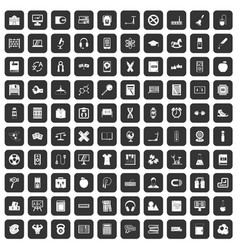 100 learning kids icons set black vector image vector image