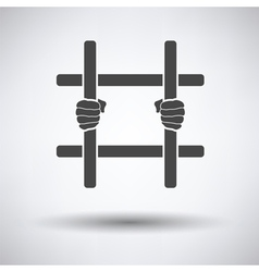 Hands holding prison bars icon vector