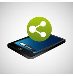 Smartphone blue screen unlock sharing vector
