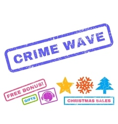 Crime wave rubber stamp vector