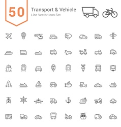 Transport vehicle line icon set vector