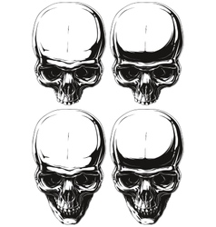 White and black human skull tattoo set vector