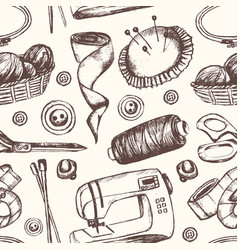 sewing accessories - hand drawn seamless pattern vector image