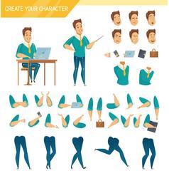 office worker constructor cartoon set vector image