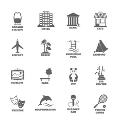 Building tourism icons vector