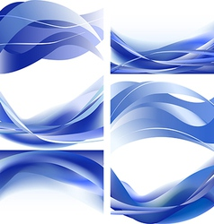 Blue waves isolated set on white background vector