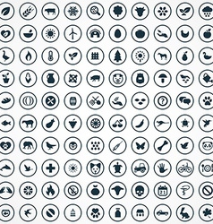 100 ecology icons vector image