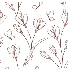 Sketchy seamless pattern with flowers and butterfl vector