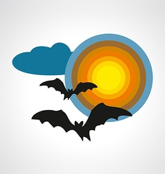 Silhouettes of bats on full moon halloween symbol vector