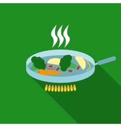 Vegetables in pan flat style vector