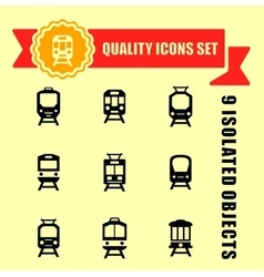Quality trains icon set vector