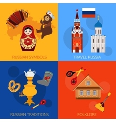 Set of russia travel compositions with place for vector