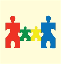 Happy family puzzle vector