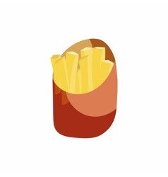 French fries in a paper wrapper icon vector