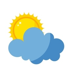 Sun and cloud icon isolated vector
