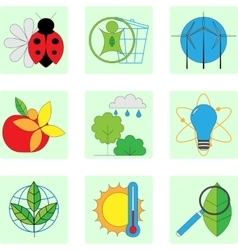 Set of line modern color icons for green energy vector